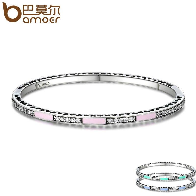 BAMOER Véritable 925 Sterling Argent 3 Couleur Rayonnante Coeurs, lumière Rose Émail & Clear CZ Bracelet & Bracelet De Luxe Bijoux SCB017