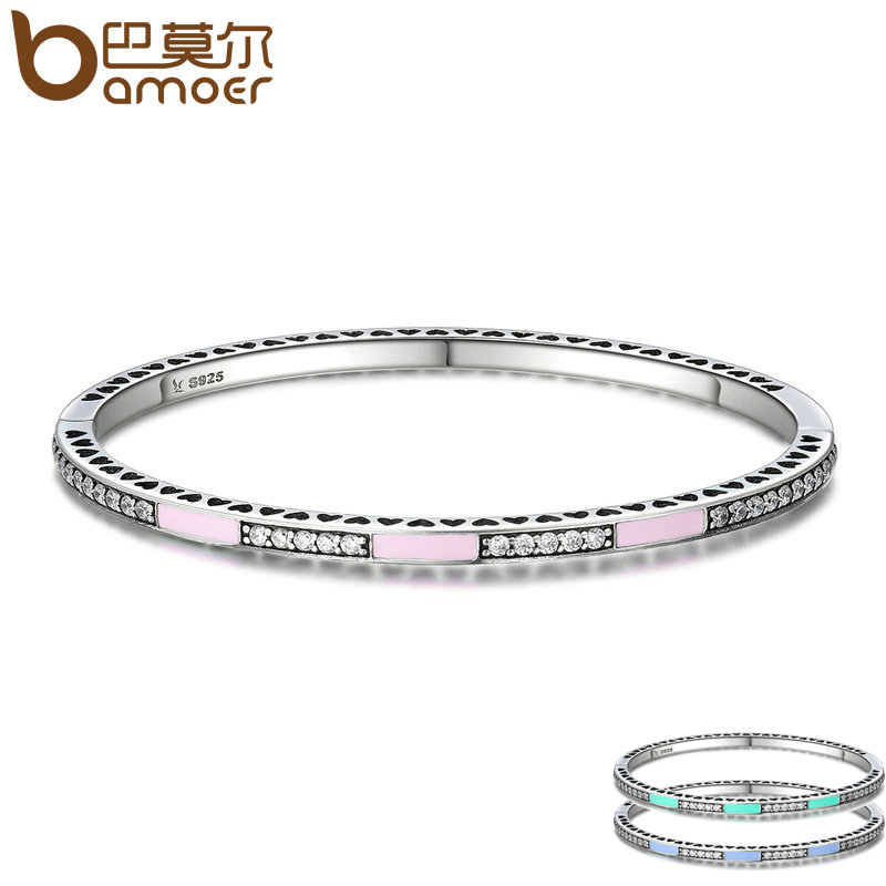 BAMOER Genuine 925 Sterling Silver 3 Color Radiant Hearts, Light Pink Enamel & Clear CZ Bangle & Bracelet Luxury Jewelry SCB017 top quality bright mint enamel clear cz radiant hearts of pan bangle fit europe bracelet 925 sterling silver bead charm jewelry