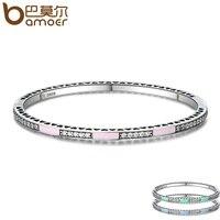 BAMOER Genuine 925 Sterling Silver 3 Color Radiant Hearts, Light Pink Enamel & Clear CZ Bangle & Bracelet Luxury Jewelry SCB017