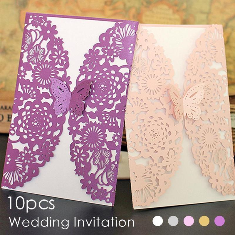 10pcs Romantic Laser Cut Lace Wedding Invitation Cards Delicate Carved Butterfly Card Wedding Party Cards Invitation Card  3 1 design laser cut white elegant pattern west cowboy style vintage wedding invitations card kit blank paper printing invitation