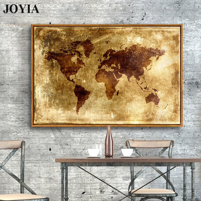 Large abstract world map canvas art print golden metallic planet large abstract world map canvas art print golden metallic planet plate poster wall picture for home gumiabroncs Images