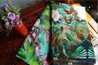2016 silk dress shirt cloth silk dress fabric crepe de chine Flower color printed fabric fragment of Parrot Jungle