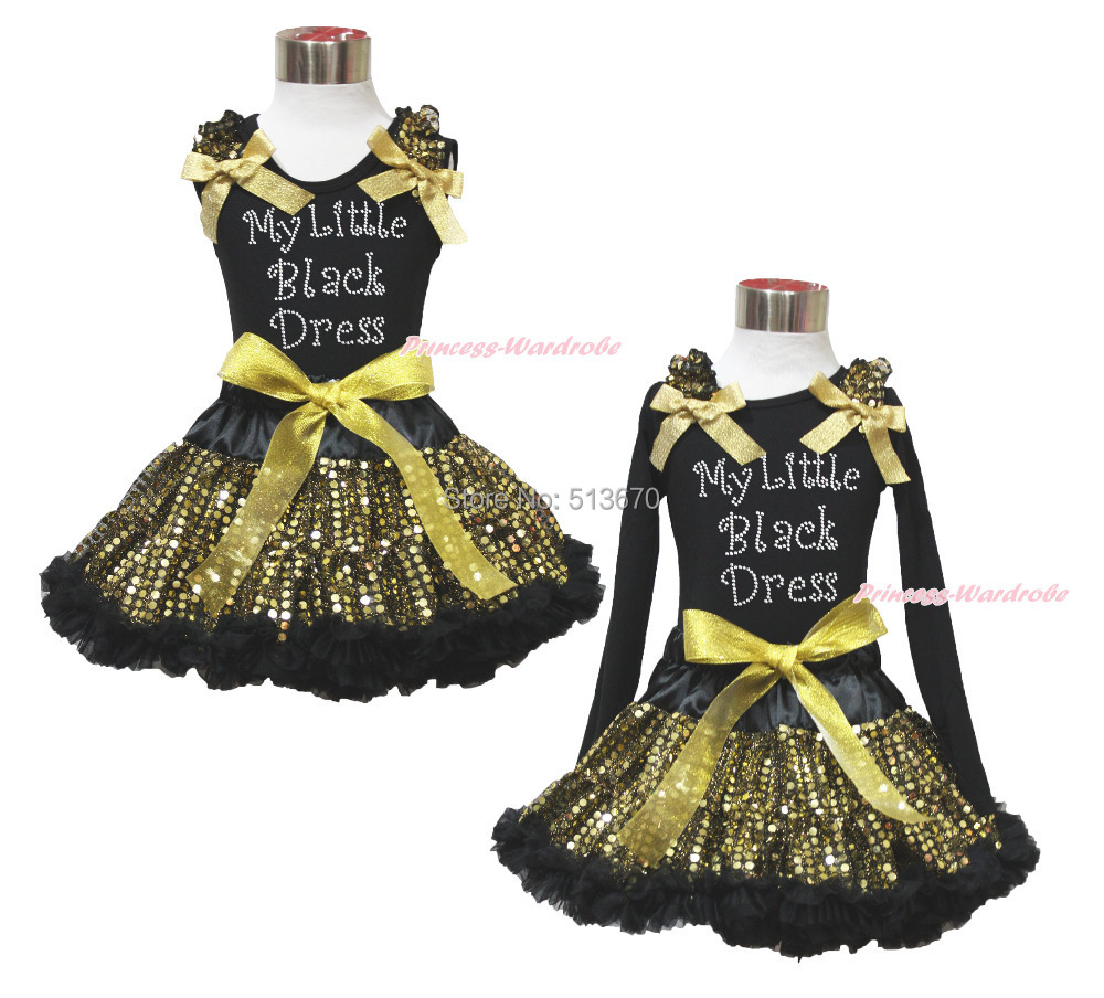 Easter Rhinestoen My Little Black Dress Top Sparkle Bling Gold Sequin Skirt 1-8Y MAPSA0487 bling my 1st camo dress tree little princess white shirt camouflage bow petal skirt nb 8y
