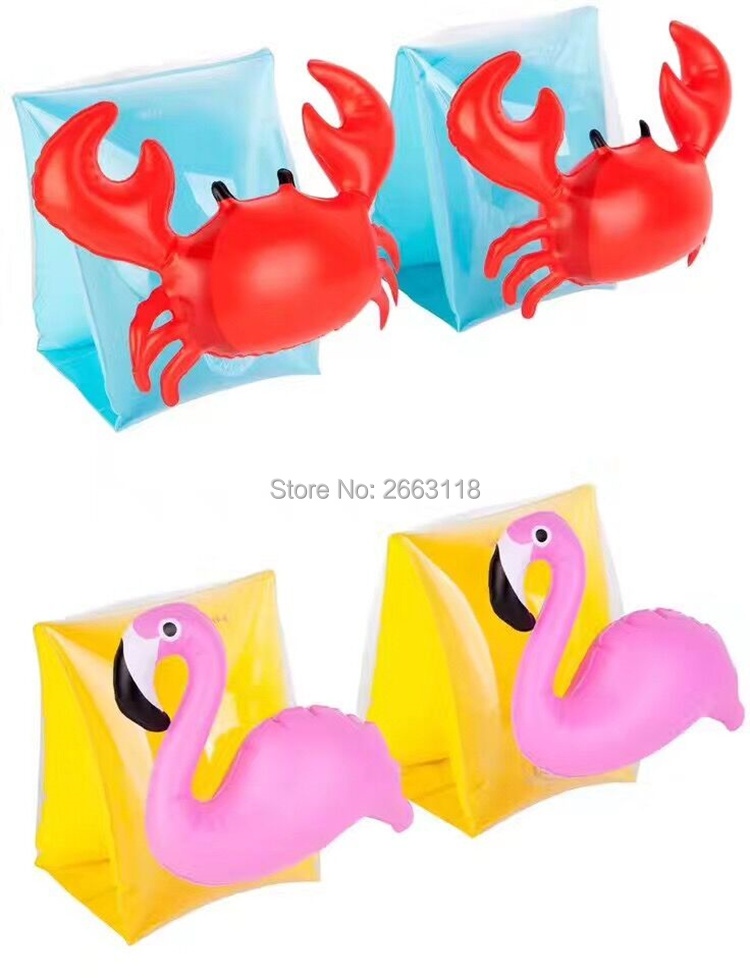 Children 1Pair Swimming Arm Float Crab Animal Flamingo Inflatable ArmBands Baby Water Float Swimming Pool Trainer Accessories