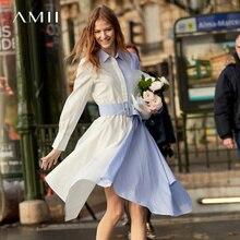 Amii Minimalist Fake Two Pieces A-Line Dress Women Spring 2019 Vintage Spliced Stripe 100% Cotton Belt Female Shirts