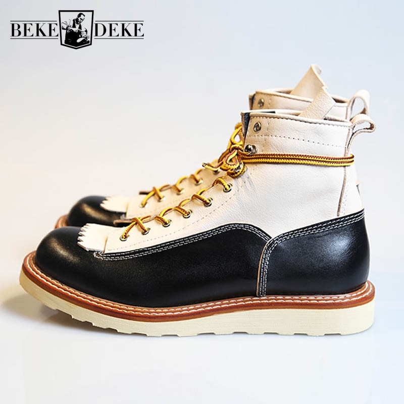 Italy Real Leather High Top Shoes Men England Style Vintage Casual Work  Boots Lace Up Office Dress Shoes Botas Hombre