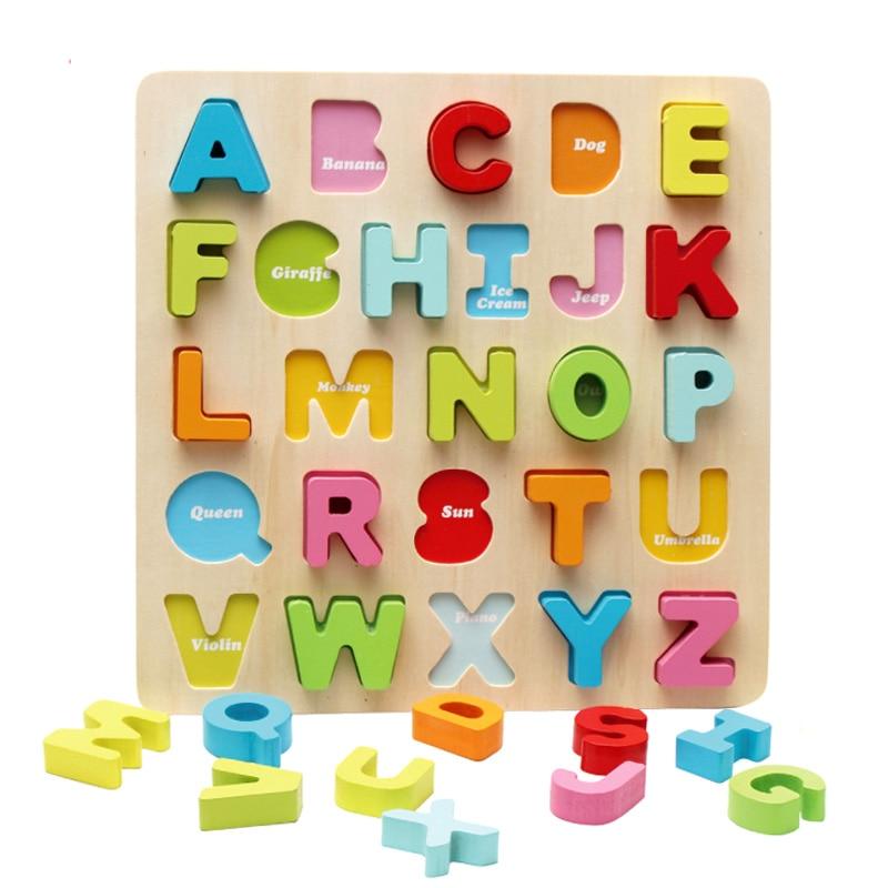 Ábra Természetes fa blokkok színes Montessori oktatási fa játékok gyerekeknek levél blokkok Alfanumerikus szám