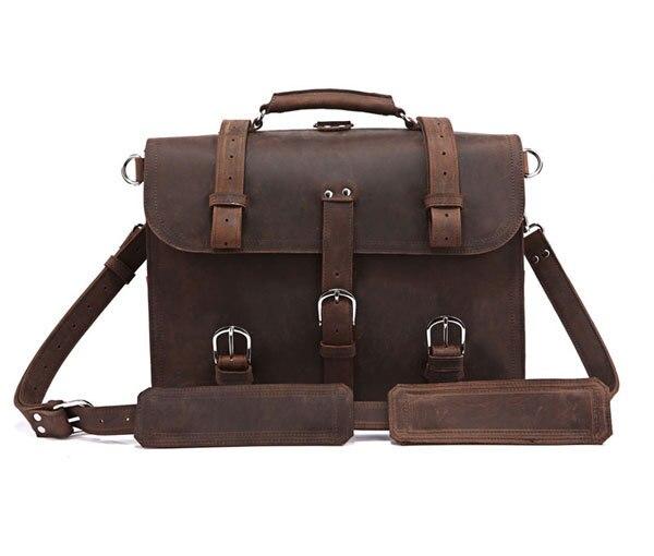 100% Crazy Horse Leather Men's Laptop Backpack Dispatch Travel bag Men Big Size 16.5