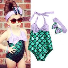 Summer Hot Girls Kid Little Mermaid 2 Pcs Swimmable Bikini  Backless Halter Swimwear Swimsuit+Headband Swimming Costume Clothing
