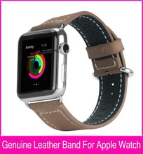 Correas de reloj del cuero genuino para apple watch 42mm 38mm hecho por el 100% Capa Superior de Cuero Con el Clásico Original y Hebilla de Metal Aapters