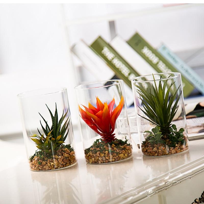 plantas en maceta simulacin maceta hogar creativo de escritorio bonsai verde de vidrio adornos de artesana de cum