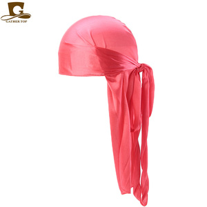 Image 5 - Wholesale Durag Men Solid Color Silk Durags Women Breathable Turban Fashion Hair Bands 13Pcs/package