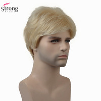 StrongBeauty Men Wig Blonde/Brown Short Straight Synthetic Hair Natural Wigs