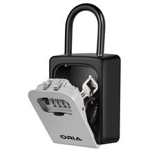 ORIA 4 Digit Key Lock Box Wall Mounted Key Storage Safe Box Waterproof with Removable Shackle for Indoors and Outdoors
