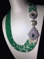 green color natural semi precious stone necklace multi layers 925 sterling silver with cubic zircon and fresh water pearl