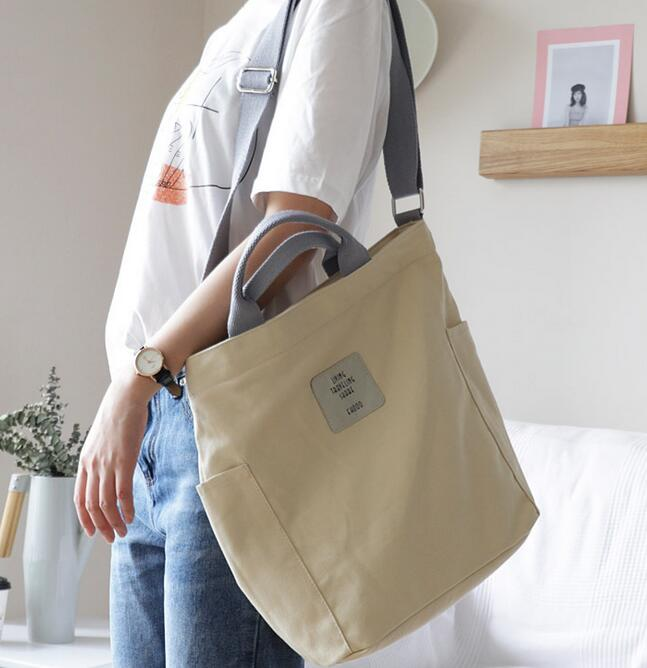 Korean Canvas Shoulder Bag Zipper Luxury Women Bags Designer Women Messenger Bag Female Simple Handbag Letter Printing tote