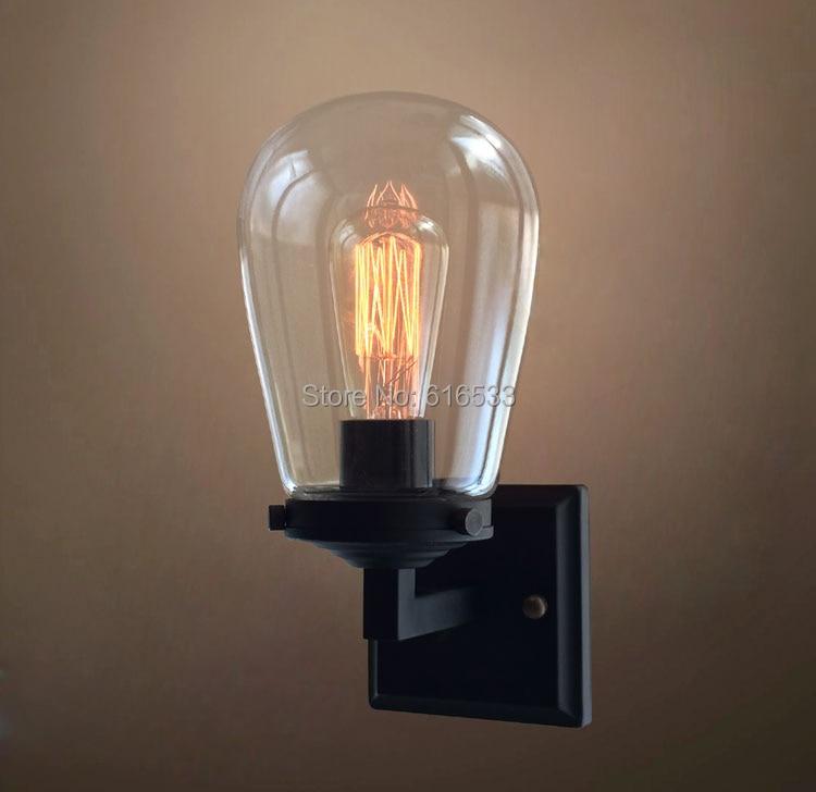 ФОТО Retro Vintage Industrial American Country Grape Glass Edison Wall Sconce Lamp Bathroom Beside Bedroom Home Decor Modern Lighting