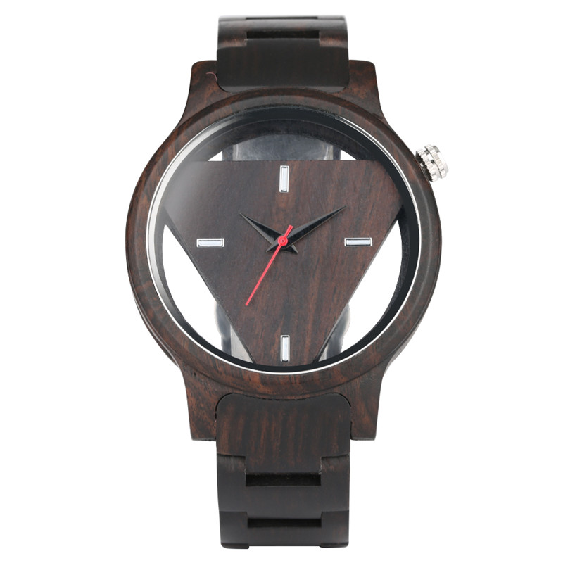 Fashion Chocolate Brown Wooden Strap Men Watch Unique Hollow Simple Dial Wood Watches for Men Classic Watch Men Luxury