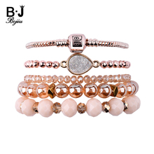 BOJIU 5 Pcs/Set Multiple Layers Crystal Bracelets For Women Handmade Jewelry Elastic Multilayer Female Bijoux BCSET256