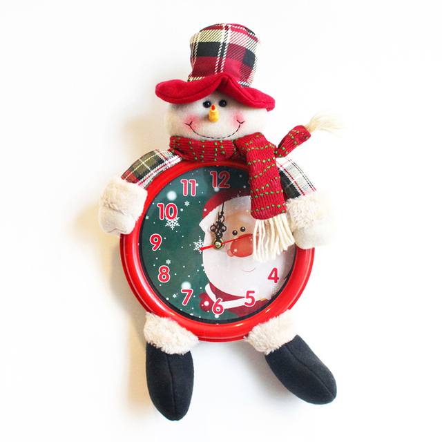 3D Fabrics Santa Claus/Elk Wall Clock Electronic Clock Christmas Decorations For Home New Year Decoration Christmas Gift