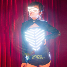 Luminous Costumes Illuminated Glowing Bunny Girl LED Light Clothing Women Suits Ballroom Dance LED Dress Performance Dress