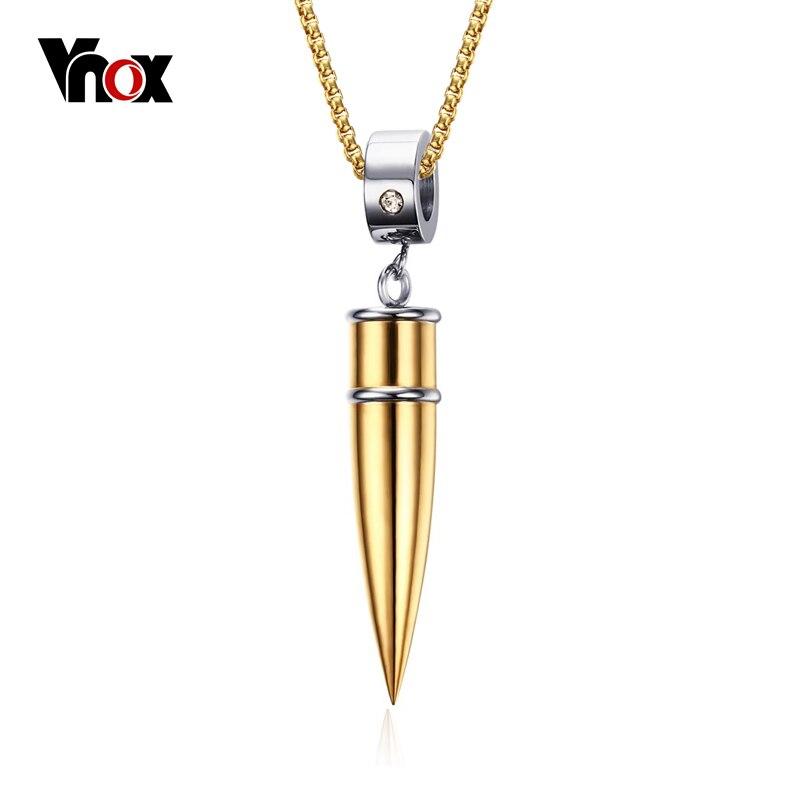 Vnox bullet collar y colgante de joyería de acero titanium de la promesa de meta