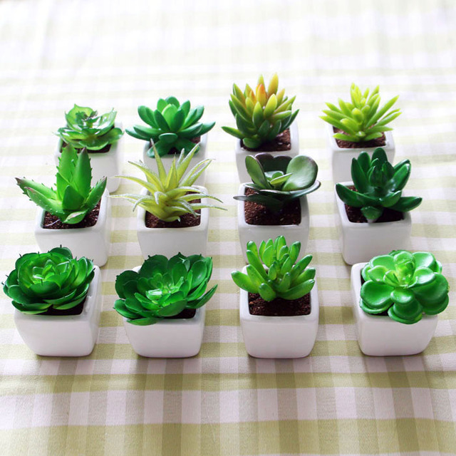 Simulation Succulents Small Potted Plants Bonsai Mini Creative Emulation Suite Living Room Decorated Artificial Flowers