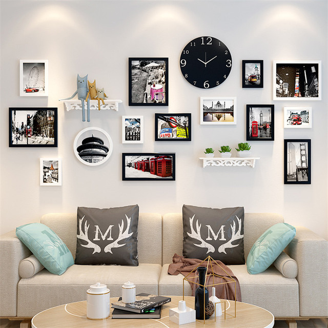 Home decoration rectangle Photo Frame Set for Wall 12pcs Picture Frames+Clock+Shelf+Letters Wooden Frame Wall Set Cadre Photo