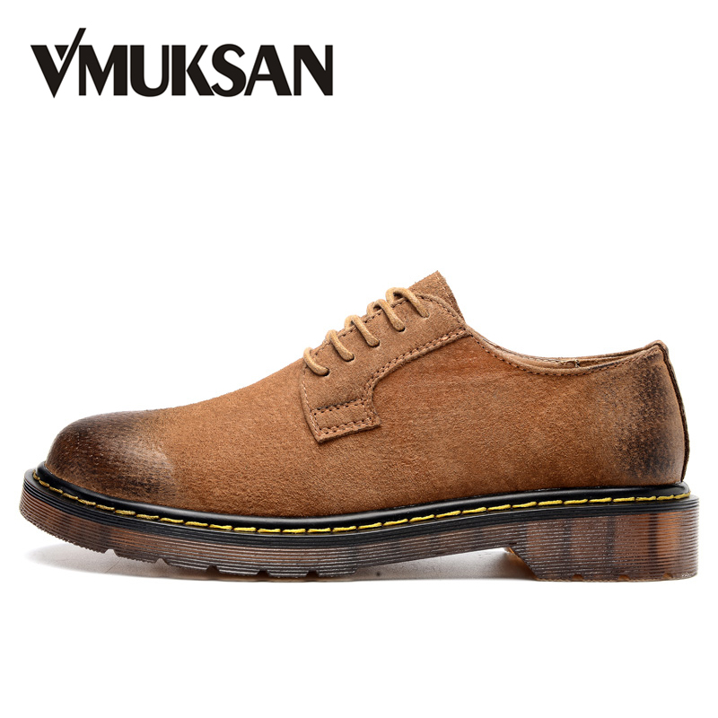 VMUKSAN Brand Men Shoes Big Size 38-46 Leather Casual Shoes Mens High Quality Designer Vintage Male Footwear 2017 retro mens jeans full length pants men casual straight fitness jeans trousers male designer loose plus big size 42 44 46 48