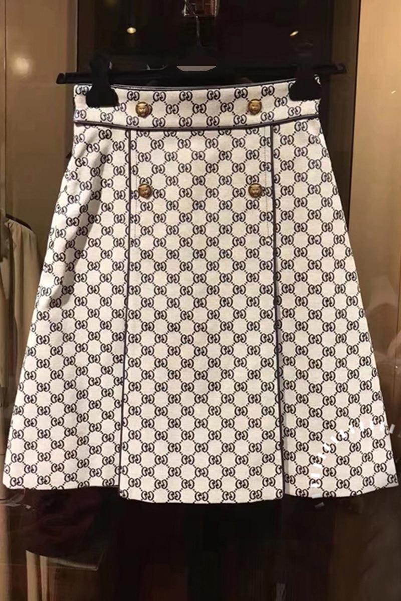 Picture Mujeres 2019 Calidad Línea Verano De as Imprimir Picture As Elegante Botones Falda Primavera Alta Mini X372 Una Moda Nueva qq0rRH