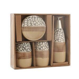 Image 5 - Conjunto de 4 piezas de accesorios de cerámica para baño de 100%, set de regalo para el baño, soporte para cepillo de dientes, vaso para jabón, incluye dispensador de jabón