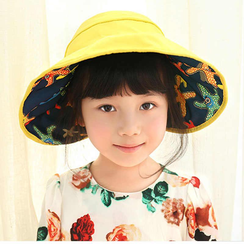 ... AB Side 2018 Summer Girls Sun Hats Korean Children s Beach Caps Kids  Flodable Caps with Wide ... feda6dcb9162