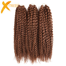 Freetress Synthetic Braiding Hair Extensions Low Temperature Fiber 3Pcs/Pack 16inch X-TRESS Pre-Loop Island Twist Crochet Braids(China)