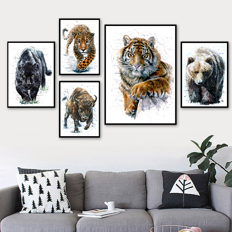 Watercolor Bear Fox Wolf Owl Tiger Wall Art Canvas Painting Nordic Posters And Prints Animal Pictures For Living Room Decor