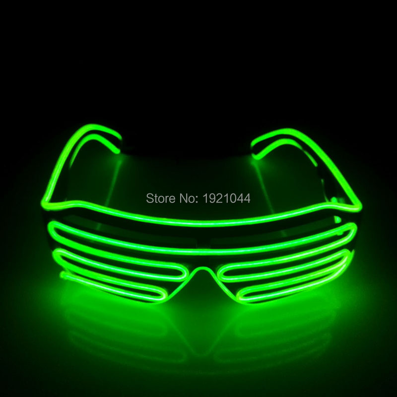 Hot Sales Lighting Color Lemon green EL Wire Glow Shutter shape Glasses LED Neon Light Glasses for Holiday Party DIY Decoration