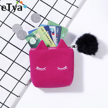 eTya Cute Cat Coin Purse Kids Girls Mini Cartoon Coin Bag Plush Money Bags Change Pouch Wallet Women's Clutch Purses Small Gifts(China)