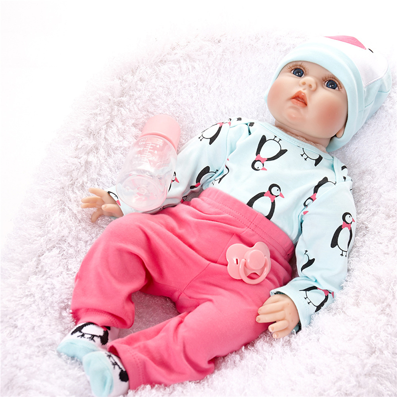 Classic Realistic Rooted Mohair Newborn Doll 22 55cm Soft Silicone Vinyl Lifelike Reborn Baby Dolls For Girls Birthdays Gift