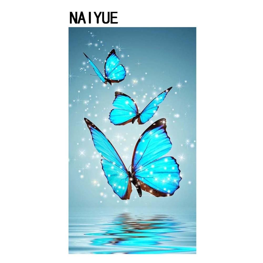 ᗛCruz puntada diamante pintura tres mariposas azules naiyue 30*50 ...