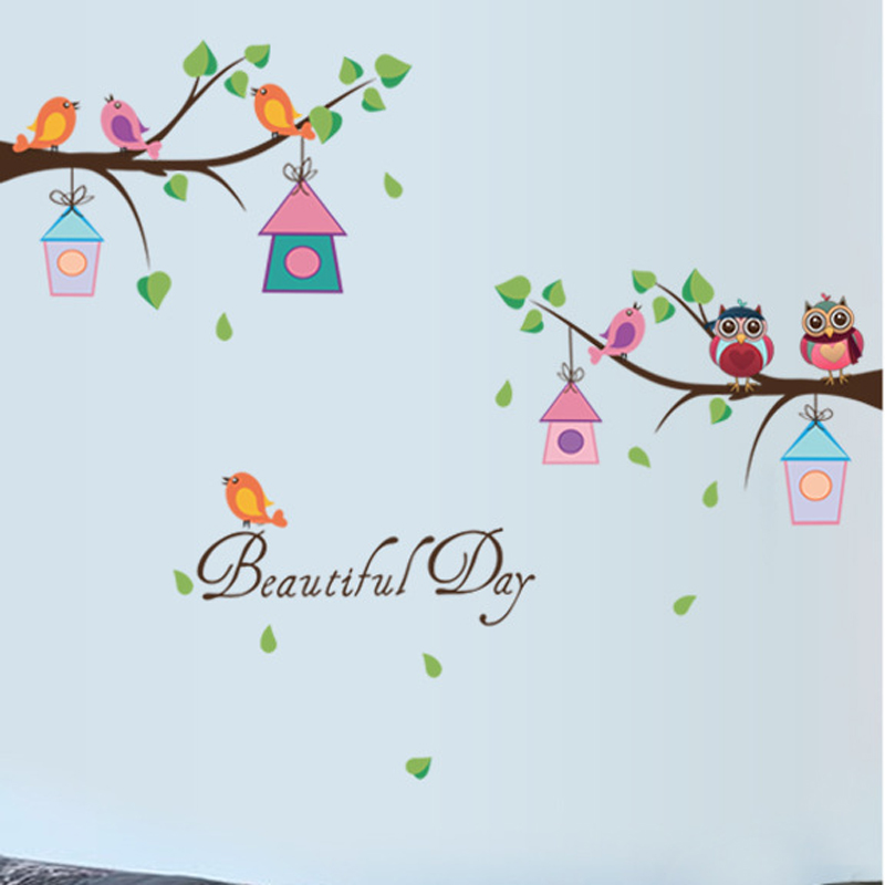 Cartoon DIY Animal Owl Tree Wall Stickers Birds Branchs Vinyl For Kids Home Decor Mural Removable Decal Stickers On The Wall