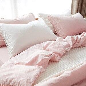 Image 2 - Wihte розовые комплекты постельного белья с потертым шариком, декоративная ткань из микрофибры, Королевский пододеяльник, удобная наволочка