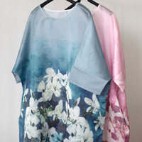SCUWLINEN Vestidos 2019 Women Summer Dresses Chinese Style Vintage Print Three Quarter Sleeve Dress Casual Loose Robe S185
