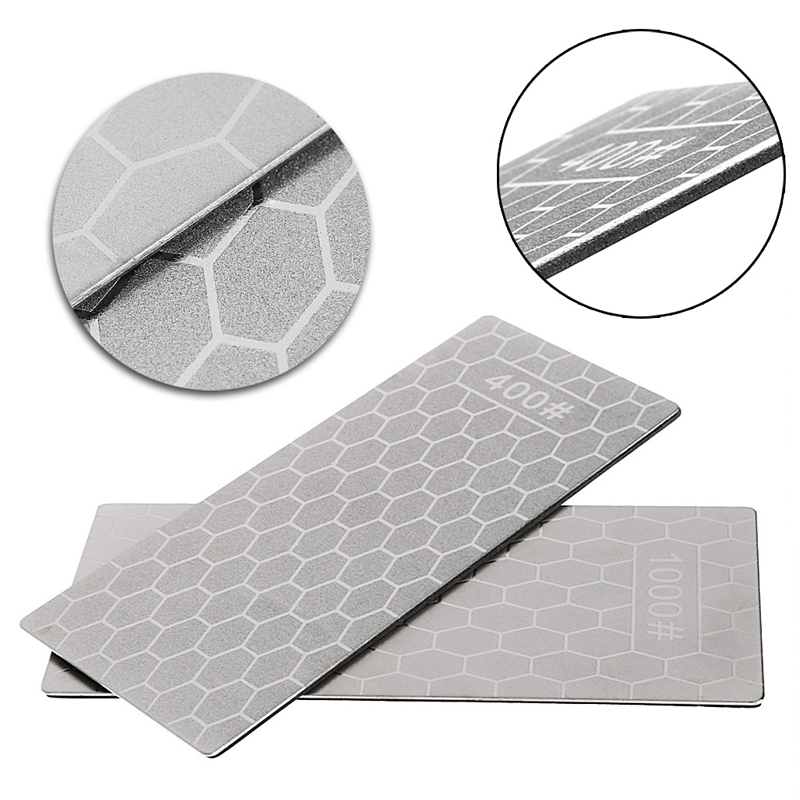 Double Dual Sided Sharpener Diamond Knife Sharpening Stone Whetstone 400# 1000#