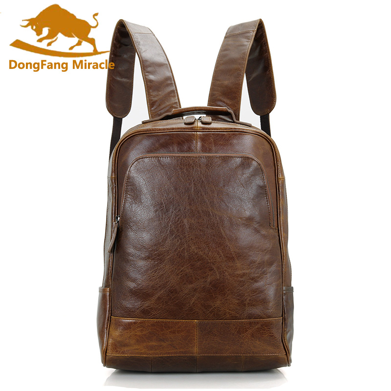 DongFang Miracle Men Genuine Leather Backpack Unisex Daypack Vintage School Bags for Girls Boys 14 inch Vintage Tote Bag 14 15 15 6 inch flax linen laptop notebook backpack bags case school backpack for travel shopping climbing men women