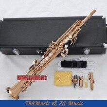 Профессиональный розового золота прямо сопрано саксофон Саксофоны Высокая F# G