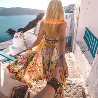 50 Simplee Backless Lace Up Long Summer Dress Women V Neck Chiffon Dress Casual Split Boho