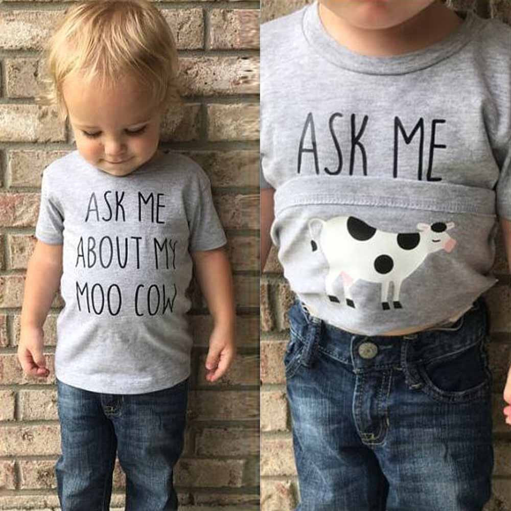 Loveble Ask Me About Moo Cow Letter Print Baby Boys T-Shirt Casual Tops Cute Short Sleeves