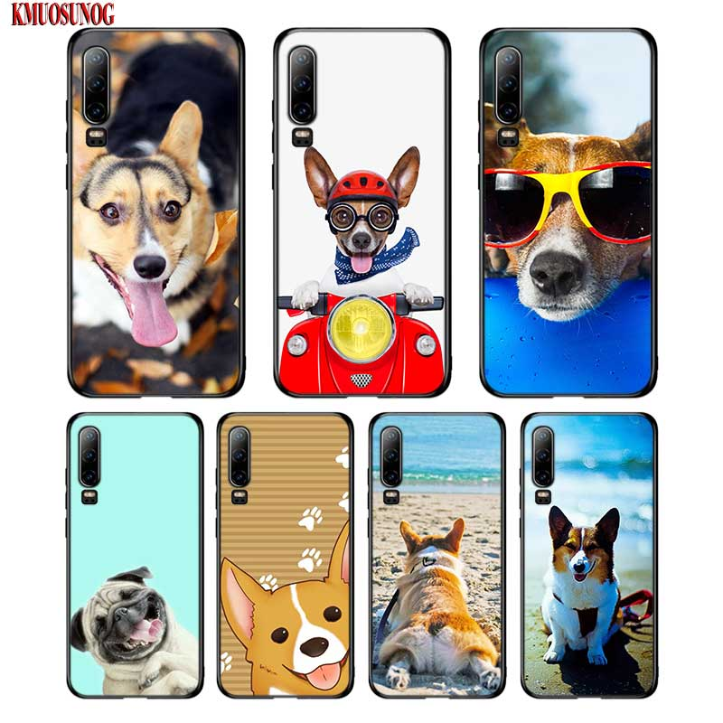 Black Silicon Phone Case Super Cute Corgi Cartoon Dog For Huawei P8 P9 P10 P20 P30 Pro Lite P Smart Plus Y6 Y7 Y9 2019 2017 in Fitted Cases from Cellphones Telecommunications