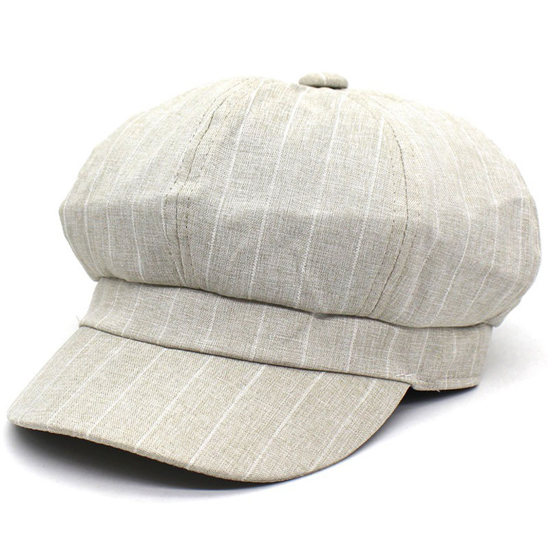 Retro Womens Striped Newsboy Cap Casual Wear Apple Cap Navy Black Beige Grey