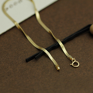 Image 5 - 14k Pure Gold Blade Necklace Flat Thin Mirror Snake Bone Wide Collarbone Chain Women And Men Gift Genuine Jewelry Hot Sale good