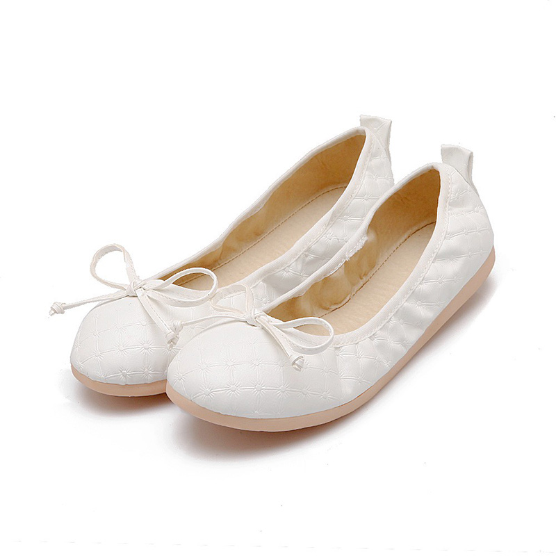 Chainingyee sweet comfortable round toe soft travel rollable shoes fashion bowknot white silver flat with women's shoes